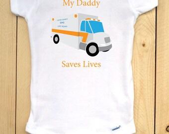 Paramedic Onesie/ EMS Bodysuit/ EMT Parents/ Paramedic Parents/ EMS Onesie/ Life Squad/ Baby Shower Gift/ Ambulance Onesie/ Baby Bodysuit