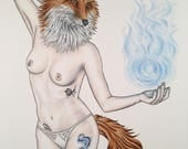 Burlesque Pinup Sparkle Fox Model Print 11x14 (Mature)