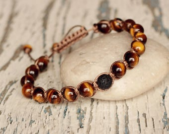 knotted bracelets shamballa brown tiger eye shamballa cord bracelet beaded jewelry for everyday adjustable bracelet healing mens gift