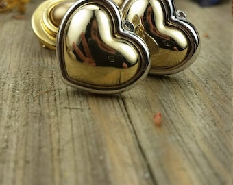 Vintage Silver and Gold Heart Clip On Earrings