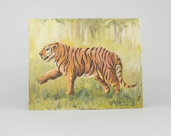 Vintage Original Art Painting  - Hand Painted Tiger - Oil Painting - Chubby Tiger - 1999 - Mid Century Modern - Bohemian Decor  - 8 x 10