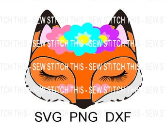 Fox svg, Baby fox svg, Woodland svg, Woodland animal, Baby svg, Birthday fox svg, Fox with eyelashes, Fox with flowers, Woods svg, Fox face