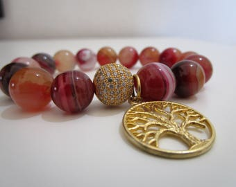 Agate bracelet red, bracelets, bracelet of natural stones, bracelet for women, tree of life, gift for women, jewelry for woman