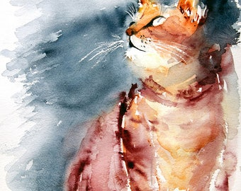 High quality giclee print of a cat looking above, from an original painting by Martine Saint Ellier