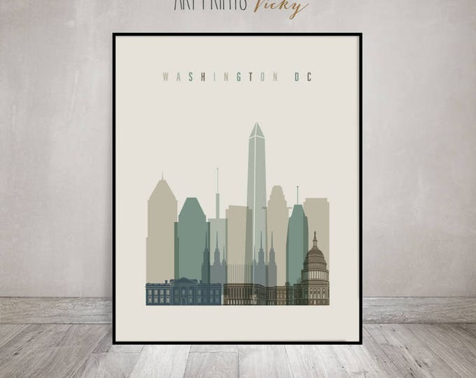 Washington print, Washington poster, Wall art, Washington DC skyline, City poster, Typography art, Home Decor, Digital Print, ArtPrintsVicky