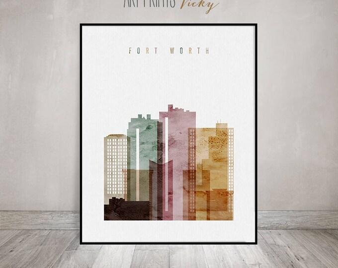 Fort Worth art print, watercolour poster, Wall art, Fort Worth skyline, Texas, City poster, Typography art, Home Decor, Gift, ArtPrintsVicky