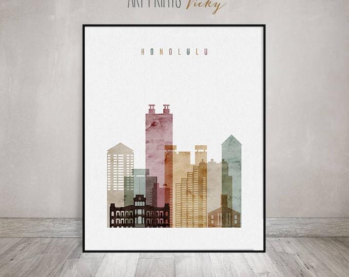 Honolulu art print, poster, Honolulu skyline, Hawaii cityscape, Travel decor, wall art, housewarming gift, Wall decor, ArtPrintsVicky