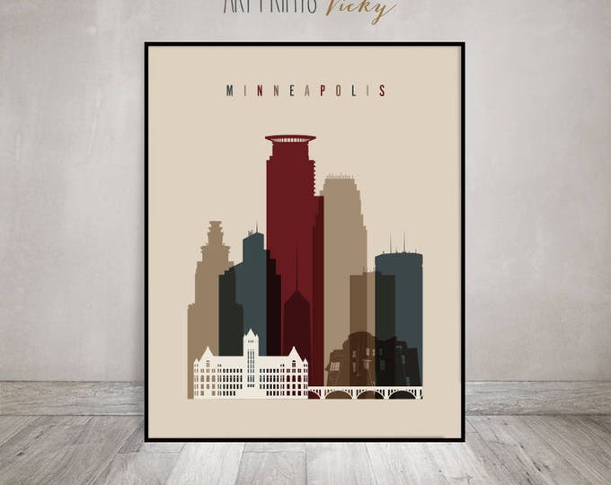 Wall art Minneapolis, print, Minneapolis Poster, Minneapolis skyline, Minnesota, Travel, Home Decor, Office decor, Gift, ArtPrintsVicky