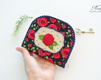 English Rose Card Holder Zipper Wallet, Bi-fold Wallet, Organizer Wallet, Keychain Wallet, Fold Over Wallet, Change Purse, Gift for Her