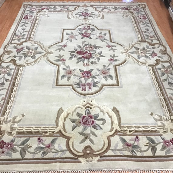 """8' x 10'7"""" Chinese Aubusson Oriental Rug - Hand Made - 100% Wool"""