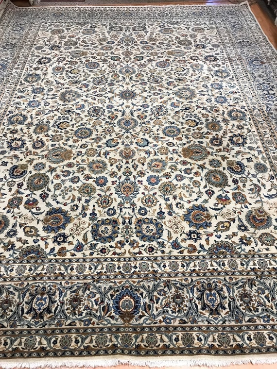 10' x 13' Antique Persian Kashan Oriental Rug - 1940s - Hand Made - 100% Wool