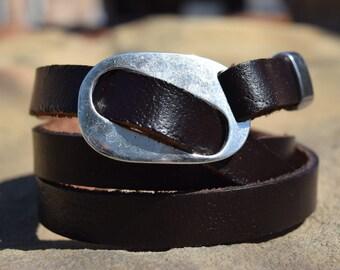 Buckle Up Leather Wrap Bracelet