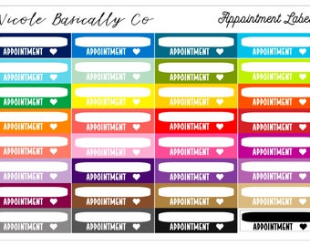 Rainbow Appointment Labels Planner Stickers