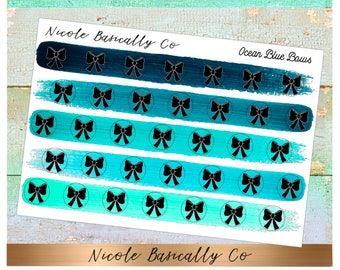 Bow Icons in Ocean Blue Paint Strokes- Planner Stickers