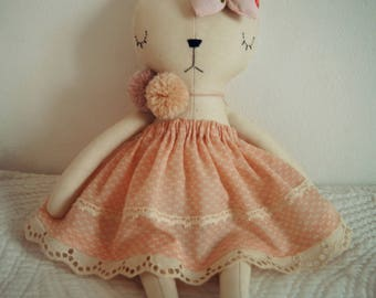 Cat Handmade Doll, stuffed toy, plush cat, stuffed animal, cloth doll, Doll Fabric rabbit,kitty doll, Linen Dolls,decorative toy, baby gift
