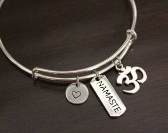 Om Bangle - Ohm Bangle - Inspirational Bangle - Yoga Bangle - Meditation Bangle - Peace - Namaste - I/B/H