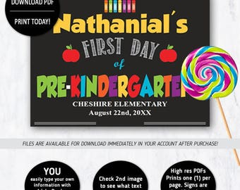 First Day of Pre- Kindergarten Sign, 1st Day of School Sign - INSTANT DOWNLOAD Edit with Acrobat Reader