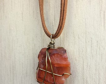 Carnelian Wire Wrapped Necklace, Gemstone Necklace, Wire Wrapped Necklace, Carnelian Necklace, Gift for Her, Ready to Ship