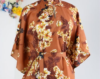 Vintage Floral Patterned Royal Hawaiian Belted Blouse Size Small Medium Large Summer Spring One Size Fits Most Drop Sleeves