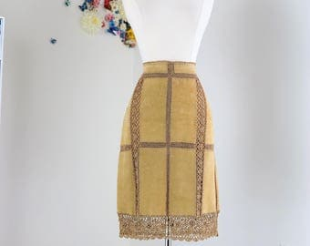 90s Does 1970s Skirt - Suede Crochet Pencil Skirt - Lace With Leather Panels - Boho Hippie Coachella Festival Skirt - Size Medium Waist 29""
