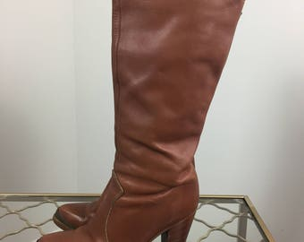 "1980s Brown Leather Boots - Made in USA - Steal Toe - 3"" Heel - Size 7.5 - Zodiac - Boho Boots - Tall High Heel Cowboy Boots - Urban Cowgirl"