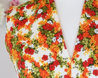 1960s Dress - Floral Print Boho Maxi Dress - Rhinestone Embellished - Orange White Red Green - Empire Waist Dramatic Full Skirt - Size Small