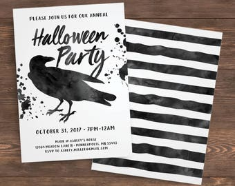 Halloween Invitation, Halloween Party Invitation, Adult, Template, Instant Download, Crow, Costume Party, Halloween Party Invites, Printable