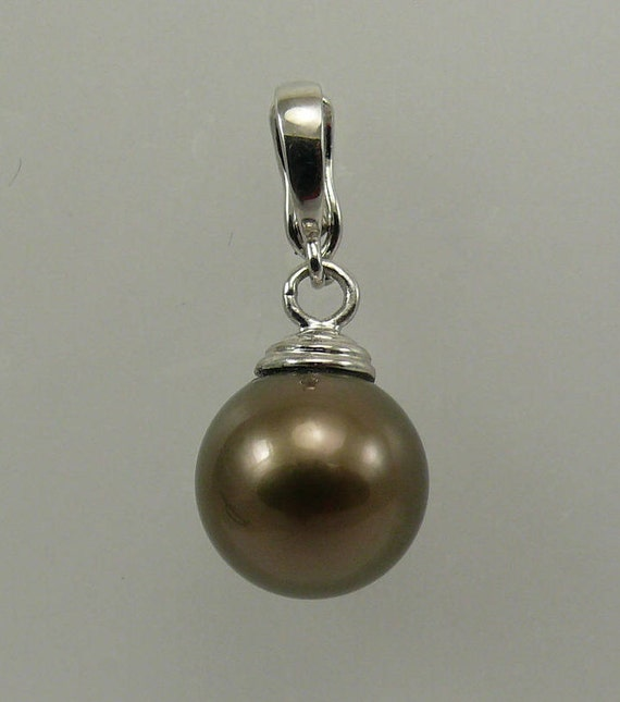 Tahitian 11.3 mm Round Pearl Pendant with 14k White Gold