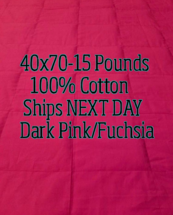 Weighted Blanket, 15 Pound, Dark Pink, 40x70, READY TO SHIP, Twin Size, Adult Weighted Blanket, Next Business Day To Ship