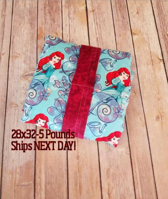 Movie, Mermaid, 5 Pound, WEIGHTED BLANKET, Ready To Ship, 5 pounds, 28x32 for Autism, Sensory, ADHD, Calming, Anxiety,