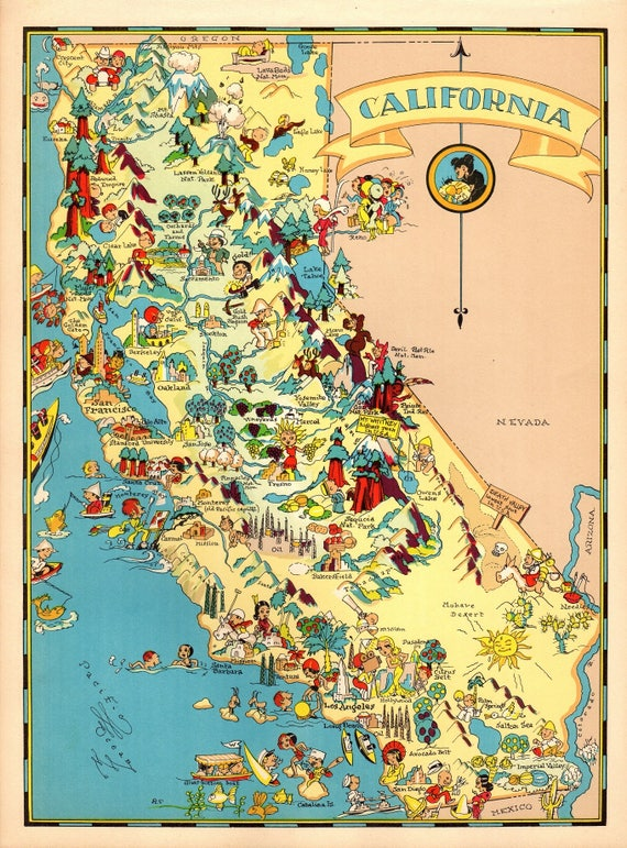 1930's Vintage California Picture Map State Cartoon Map