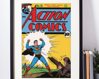 Superhero Wall Art / Superman Poster / Action Comics Art / Vintage Comic Book / Nerd Gift / Geeky Wall Art / Superman Art / Geeky Baby Gift