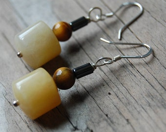 Sterling Silver Genuine Yellow Jade with Tiger Eye and Hematite Drop Earrings