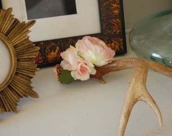 Single Genuine Deer Antler with Three Pink and White Peonies Home Decor Table Decorative Accent