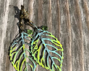 Bohemian Earrings, Boho Earrings, Fall Dangle Earrings, Rustic Hippy Earrings, Hand Painted Earrings, Handmade Jewelry, Gift Ideas for her