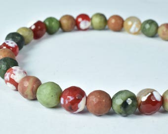 8mm Faceted Agate Olive & Rust Stone Beads, Sold by 1 strand of  50pcs, 2mm hole opening, 33.2grams/pk