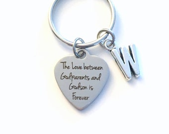 Gift for Godfather Keychain, The Love between Godparents and Godson is Forever Godmother Key Chain Nephew Letter Initial Present Jewelry him