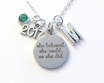 Graduation Necklace, She Believed She could so she did Jewelry, Gift for Goal Achievement Accomplishment Stainless Charm Sterling Silver her