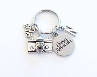 Retirement Gift for Photographer Keychain, 2018 Photo Technician Photography Key chain with letter Initial Retire camera present man 2019