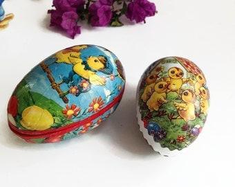 Vintage Easter Eggs - German Paper Mache Easter Eggs - Easter Decor - Set of 2