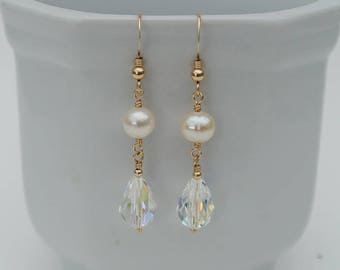 Gold Pearl and Crystal Earrings - 14K Gold Filled Ivory White Freshwater Pearl and Swarovski Crystal Drop Earrings