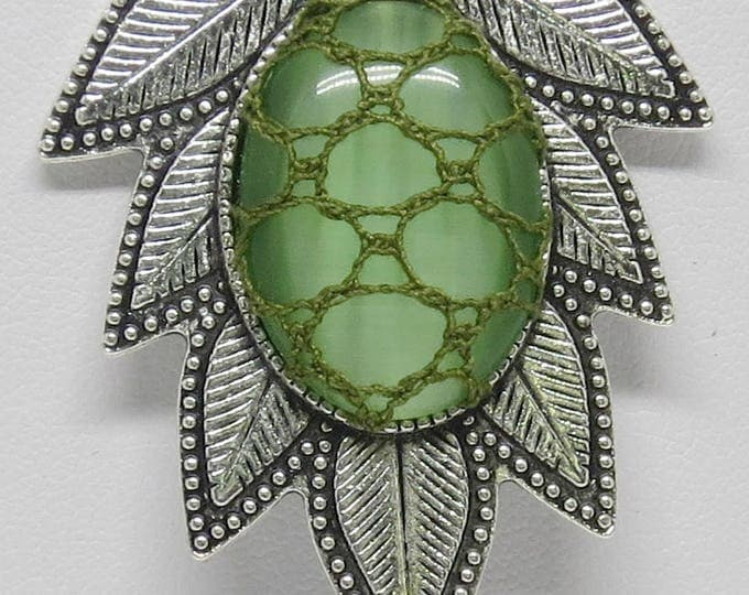 Featured listing image: Bobbin Lace Leaf Pendant: Green Cabochon with Filigree Lace Overlay