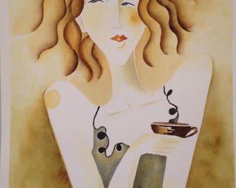 Original Mid Century Modern Abstract Watercolor Caffe 2 Signed in Black Script L/L by Portland, Oregon Artist Suzie Spaggiari