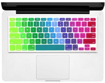 """Durable Keyboard Cover Silicone Skin for MacBook Pro 13"""" 15"""" 17"""" (with or w/out Retina Display) iMac and MacBook Air 13"""" (Rainbow 5)"""