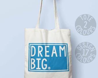 Dream Big cotton tote bag, birthday present for teenage girl, gift for mom, feel better, resist, girl power, love is love book bag, carryall