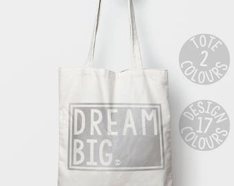Dream Big strong tote bag, shoulder bag, retro eco bag, gift ideas for teen girl, women, feminist, valentines day, motivation, nevertheless