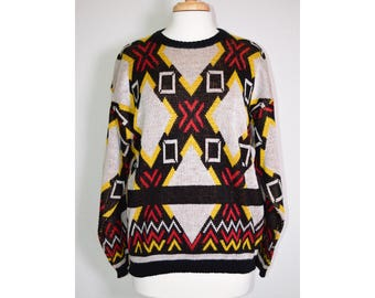 Vintage 80s NATIVE Red Yellow Pattern Knit Sweater Medium