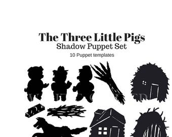 Shadow puppet etsy for The three little pigs puppet templates