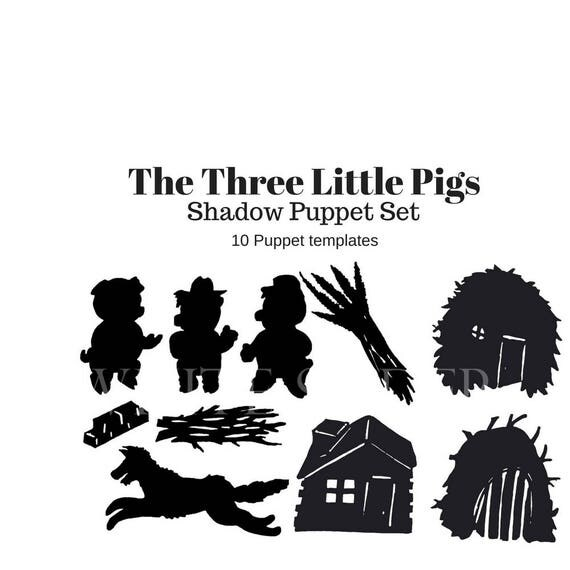 Instant download the three little pigs digital shadow puppet instant download the three little pigs digital shadow puppet set to cut out pronofoot35fo Gallery
