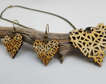 Geometric Wooden Heart Necklace & Earrings Set / Laser Engraved Wood With Bronze Chain And Fish Hook Earrings